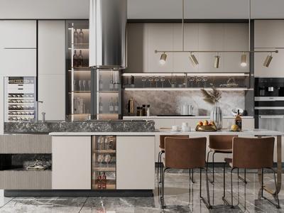 现代轻奢敞开式厨房3d模型