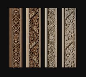 新中式实木线条组合3D模型