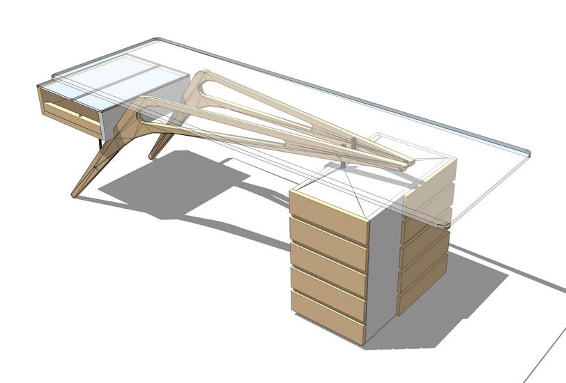 玻璃方餐桌SU模型