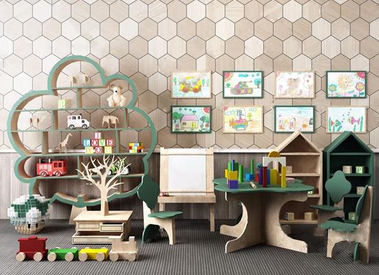儿童早教桌椅玩具组合 现代玩具 儿童桌椅 儿童边柜 儿童绘画架 幼儿园玩具