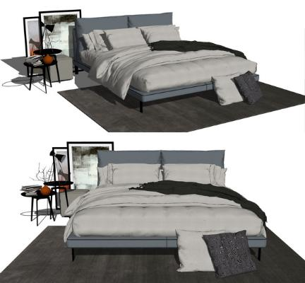 现代双人床SU模型