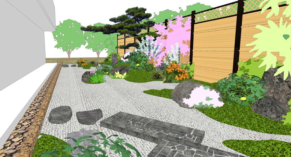 日式茶室庭院景觀SU模型
