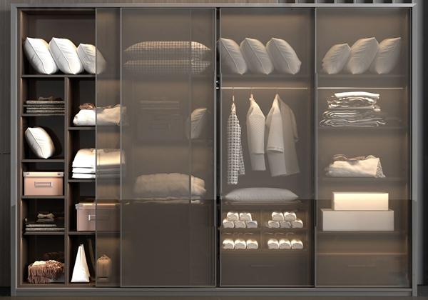 现代透明玻璃推拉门衣柜3d模型