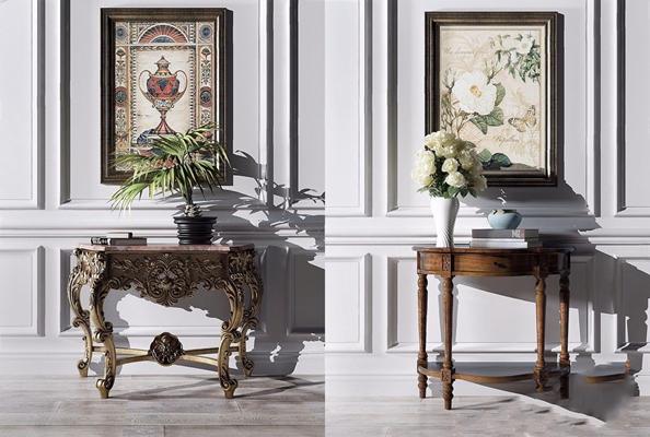 美式玄关柜边几组合 美式边柜/玄关柜 端景台 装饰画 铁艺玄关台 绿植 花瓶 木质玄关台