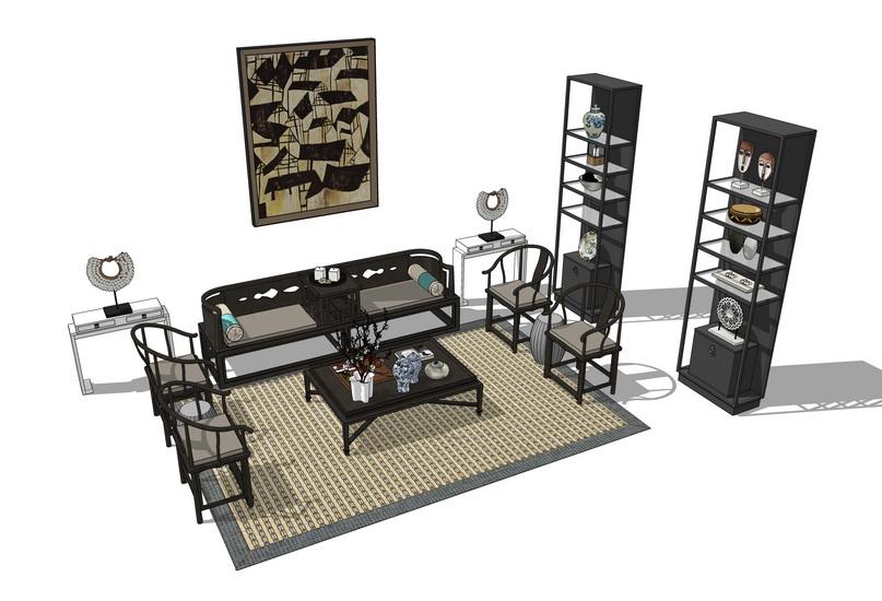 中式客厅沙发茶几博古架组合SU模型