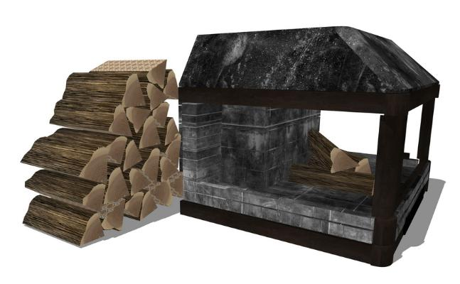 LOFT壁炉SU模型
