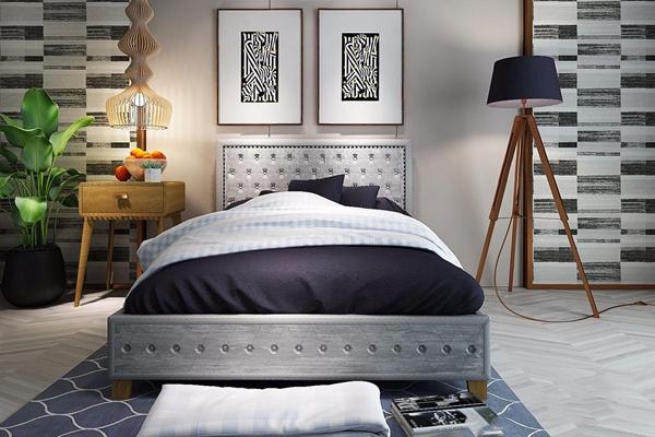 北欧单人床床头柜吊灯挂画 北欧单人床 床头柜 落地灯 床头灯 吊灯 挂画 绿植 水果 床品