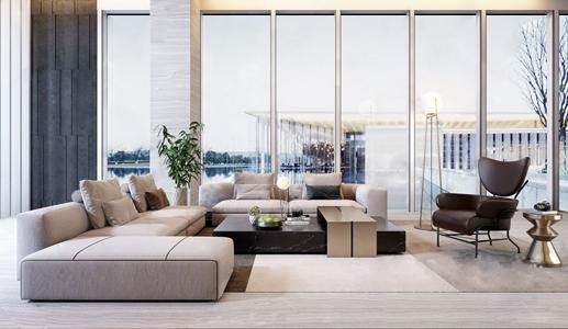 现代多人沙发茶几组合 现代双人沙发 单人沙发 沙发椅 单椅 落地灯 茶几 绿植