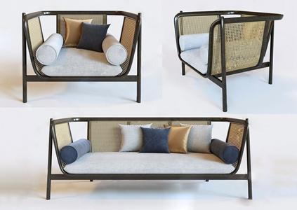 新中式沙发椅子组合 新中式双人沙发 单椅 扶手椅