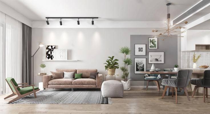现代客餐厅 沙发茶几 餐桌椅 双人沙发 吊灯 植物盆栽摆件 挂画 单椅 落地灯
